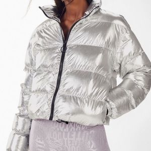 Fabletics- Silver Puffer Jacket